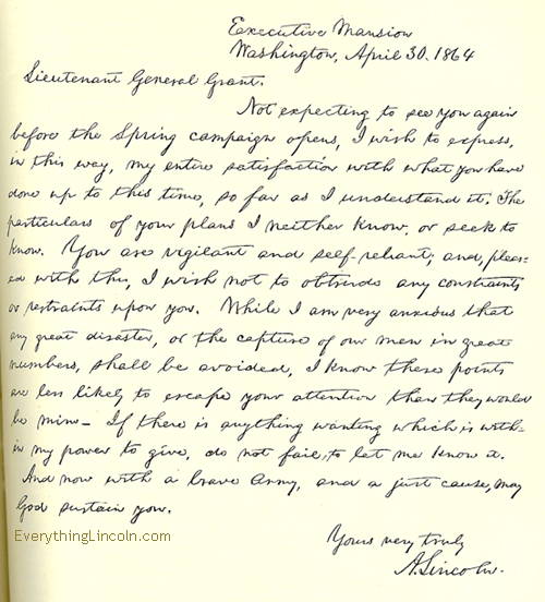 April 1864 letter from Lincoln to Grant