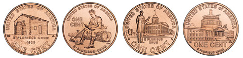 four 2009 Lincoln penny designs