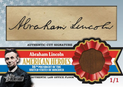 Abraham Lincoln Topps cut signature card 2009