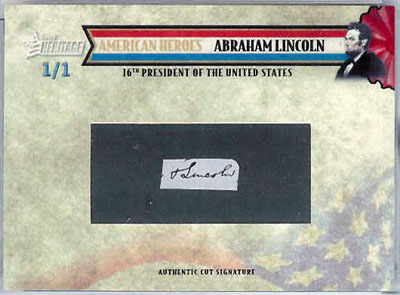 2009 Topps American Heritage Abraham Lincoln autograph