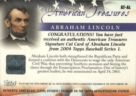 Topps American Treasures Abraham Lincoln card