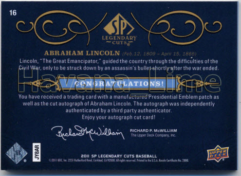 2011 Upper Deck Abraham Lincoln signature relic card
