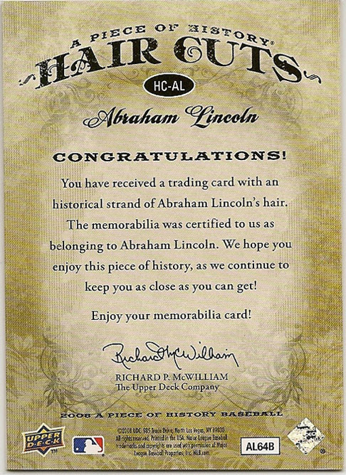 Upper Deck Abraham Lincoln relic card